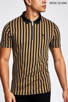 River Island Tan/Camel Stripe Polo