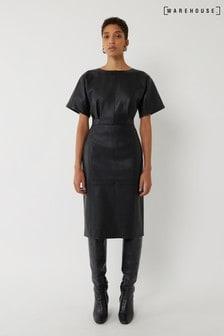 Warehouse Seamed Faux Leather Midi Dress