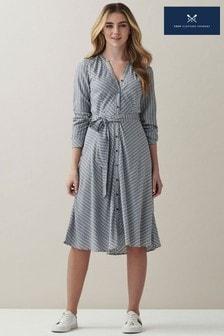 Crew Clothing Company Blue Striped Collarless Shirt Dress