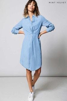 Mint Velvet Blue Twist Front Midi Shirt Dress