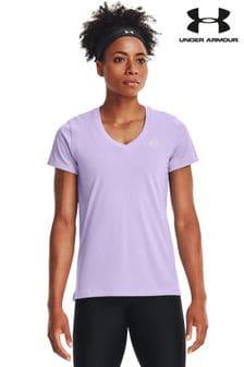 Under Armour Purple Tech Solid V-Neck T-Shirt