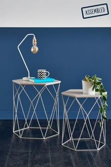 Hexagon Grey Nest Of 2 Table