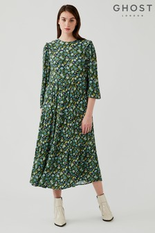 Ghost Blue Ada Floral Print Crepe Dress