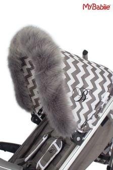 Grey Pram Hood Fur Trim by My Babiie