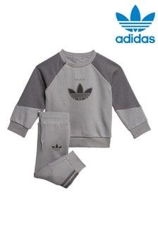 adidas Originals Infant Grey SPRT Crew and Joggers Tracksuit