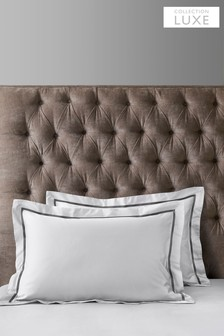 Set of 2 Black/White 600 Thread Count Embroidered Border Collection Luxe 100% Cotton Pillowcases