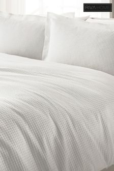 The Linen Yard White Waffle Duvet Cover and Pillowcase Set