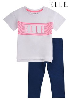 ELLE White Linear Boxy Tee & Legging Set