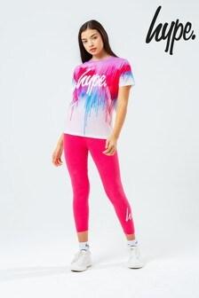 Hype. Kids Pink Drip Print T-Shirt And Leggings Set