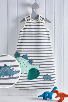 Blue Dino Striped 2.5 Tog Sleep Bag