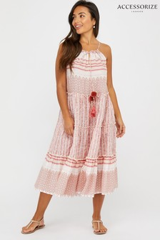 Accessorize Red Stripe Midi Dress