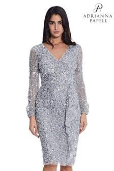 Adrianna Papell Blue Crunchy Beaded Cocktail Dress