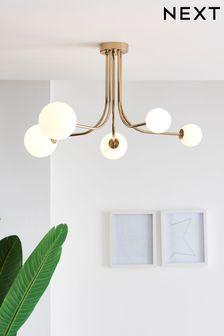 Brass Erin 5 Light Flush Ceiling Light