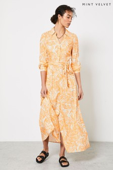 Mint Velvet Orange Rachel Print Maxi Shirt Dress