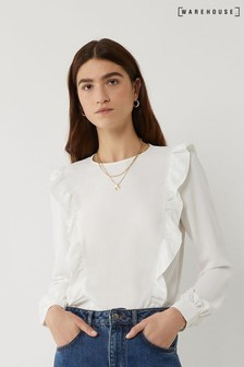 Warehouse White Ruffle Front Top