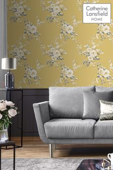 Catherine Lansfield Gold Canterbury Floral Wallpaper
