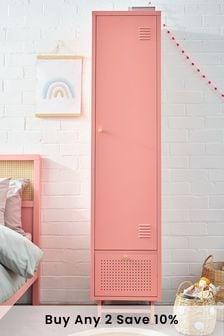 Pink Metal Locker Single Wardrobe