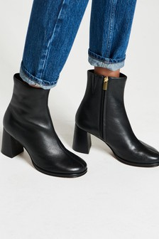Signature Leather Swung Toe Heeled Boots