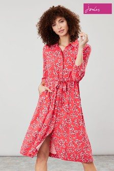 Joules Winslet Red Ditsy Long Sleeve Dress