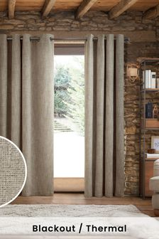 Grey Chunky Weave Eyelet Blackout/Thermal Curtains