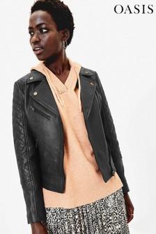 Oasis Black Premium Leather Jacket
