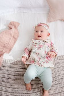 2 Piece Floral Top And Leggings Set (0mths-2yrs)