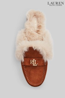 Lauren Ralph Lauren Brown Fur Trim Savannah Loafer Mule