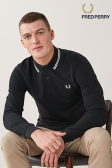 Fred Perry Mens LS Twin Tipped Poloshirt