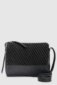 Leather Weave Across-Body Bag