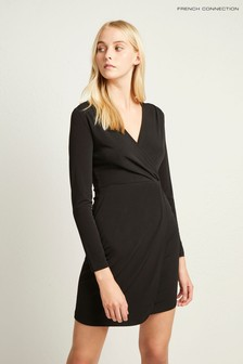 French Connection Black Slinky Wrap Dress