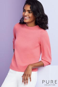 Pure Collection Pink Toccato Blouson 3/4 Sleeve Sweater