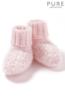 Pure Collection Pink Cashmere Baby Cable Booties