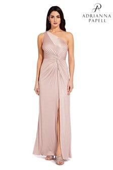 Adrianna Papell Pink Foil Jersey Long Dress