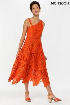 Monsoon Ladies Orange Maria Palm Lace Midi Dress