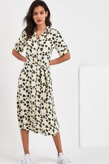 f7464177473 Print Short Sleeve Shirt Dress