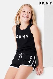 DKNY Black Logo Mesh Layer Vest