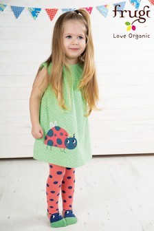 Frugi Organic Green Spot And Ladybird Jersey Lola Dress