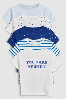 Smile Short Sleeve Tops Five Pack (3-16yrs)