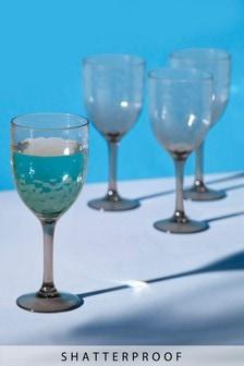 Set of 4 Ombre Effect Plastic Wine Glasses