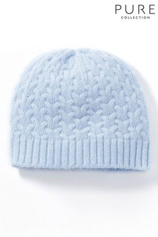 Pure Collection Blue Cashmere Baby Cable Hat