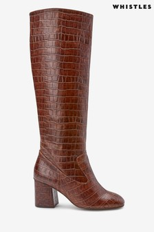 Whistles Brown Croc Hazel Knee High Boots