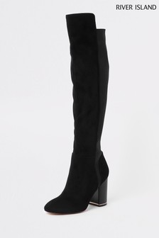 River Island Black Over The Knee Gold Heel Boot