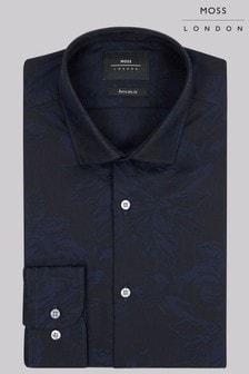 Moss London Extra Slim Fit Navy Single  Jacquard Shirt