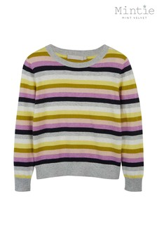 Mintie by Mint Velvet Light Grey Multicolour Stripe Knit