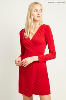 French Connection Red Slinky Wrap Dress