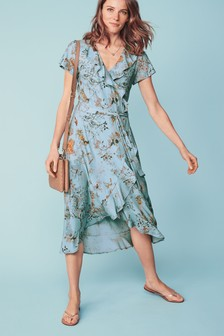 Print Ruffle Midi Dress