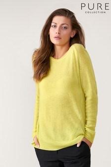 Pure Collection Green Gassato Soft Textured Rib Sweater
