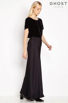 Ghost London Black Satin Odelia Maxi Skirt