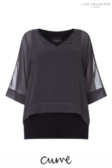 Live Unlimited Grey Overlay Chiffon Blouse With Rib Trim