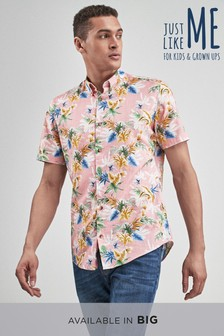 Short Sleeve Tropical Floral Print Shirt